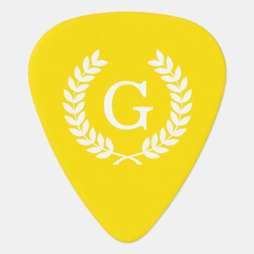 Yellow White Wheat Laurel Wreath Initial Monogram Guitar Pick