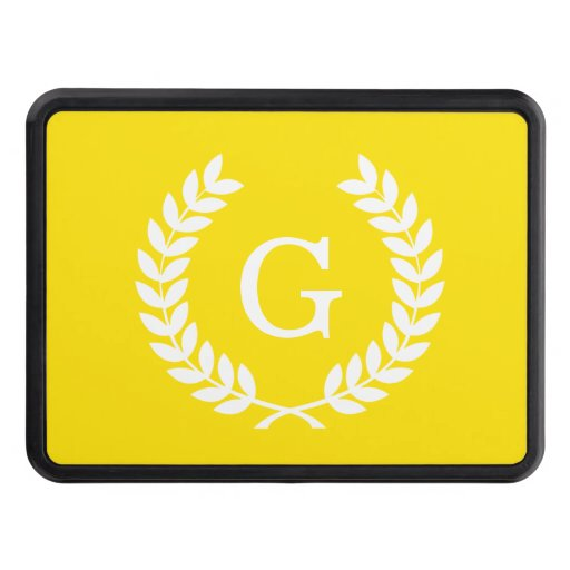 Yellow White Wheat Laurel Wreath Initial Monogram Tow Hitch Covers