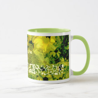 Yellow Wild Flower (Halftone Dot Pattern) Style 2 Mug