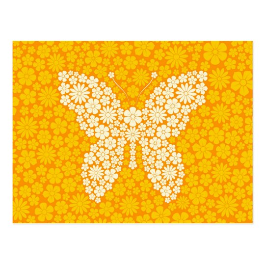 Yellow Wild Flowers Butterfly Postcard