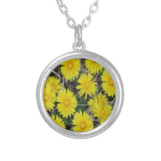 Yellow Wild Flowers Silver Plated Necklace