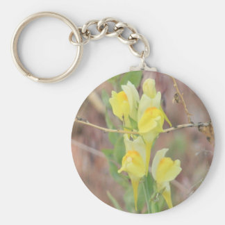 Yellow Wildflower Basic Round Button Key Ring