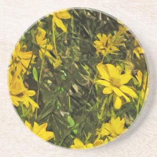 Yellow Wildflower Daisies Abstract Coasters
