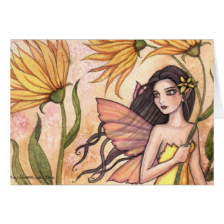 Yellow Wildflower Fairy Card