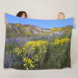 Yellow Wildflower Field Landscape Fleece Blanket