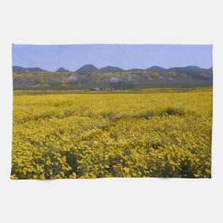 Yellow Wildflower Field Landscape Tea Towel