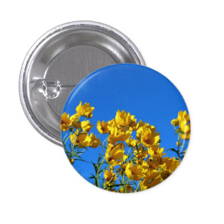 Yellow Wildflowers Bright Sky Button