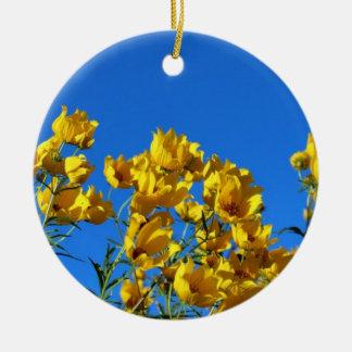 Yellow Wildflowers Bright Sky Round Ceramic Decoration