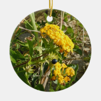 Yellow Wildflowers Double-Sided Ceramic Round Christmas Ornament