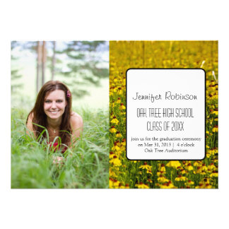 Yellow Wildflowers Floral Photo Graduation Invite