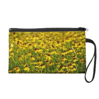 Yellow Wildflowers Floral Photo Wristlet Clutch