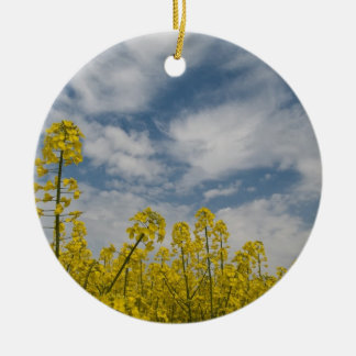 Yellow Wildflowers in the Sky Round Ceramic Decoration