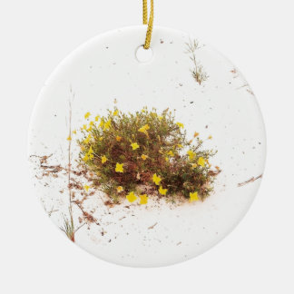 Yellow Wildflowers in White Sand Round Ceramic Decoration