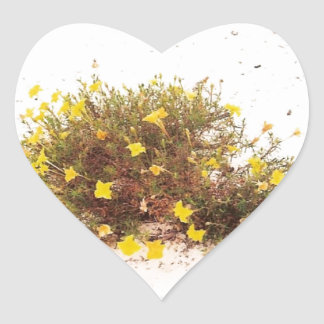 Yellow Wildflowers in White Sand Heart Sticker