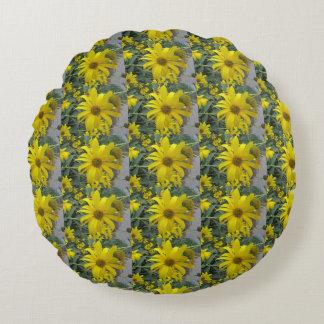 Yellow Wildflowers Photo Round Cushion