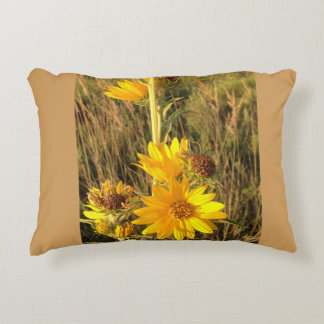 Yellow wildflowers pillow accent cushion