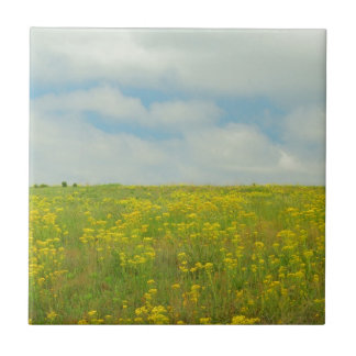 Yellow Wildflowers Small Square Tile