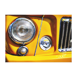 Yellow Willys Jeep Station Wagon headlight Stretched Canvas Prints