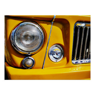 Yellow Willys Jeep Station Wagon headlight Poster