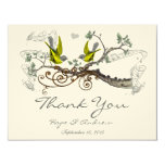 Yellow Winged & Grey Vintage Love Birds  Thank You