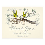 Yellow Winged & Grey Vintage Love Birds  Thank You Announcements