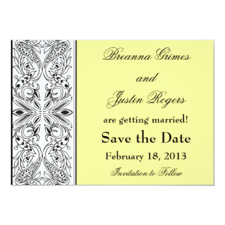 Yellow with Decorative Side Panel Save the Date Card