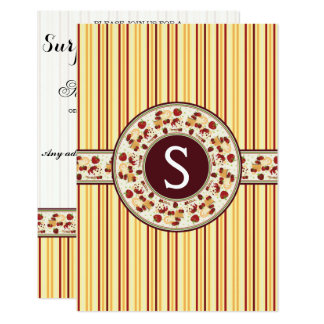 Yellow With Orange Stripes Pattern With Initial 9 Cm X 13 Cm Invitation Card