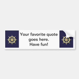 Yellow with Red Ship Helm in Navy Blue Background. Bumper Sticker