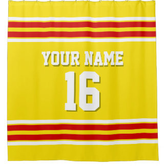 Yellow with Red White Stripes Sports Jersey Shower Curtain