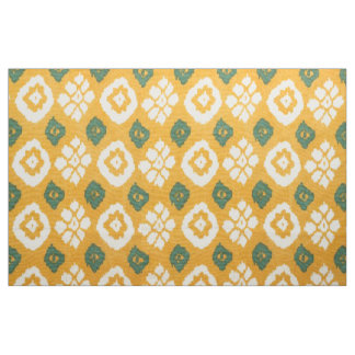 Yellow with white ikat pattern fabric