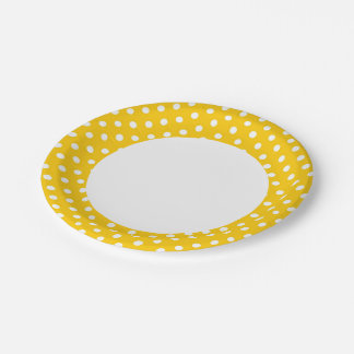 Yellow with white polka dots 7 inch paper plate