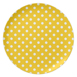 Yellow with white polka dots dinner plate
