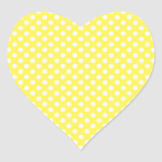 Yellow with White Polka Dots Heart Sticker