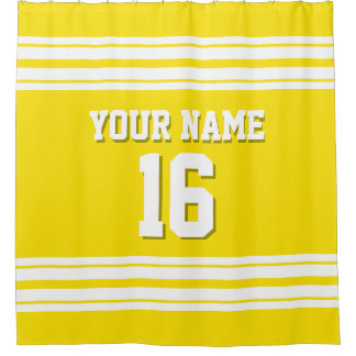 Yellow with White Stripes Sports Jersey Shower Curtain