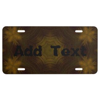 Yellow Wood Pattern License Plate