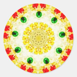 Yellow Wreath Fractal Classic Round Sticker
