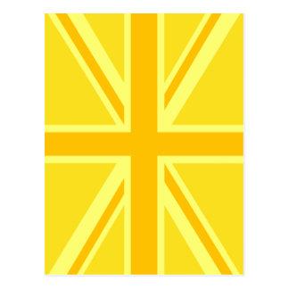 Yellow Yellow Union Jack British Flag Background Postcard