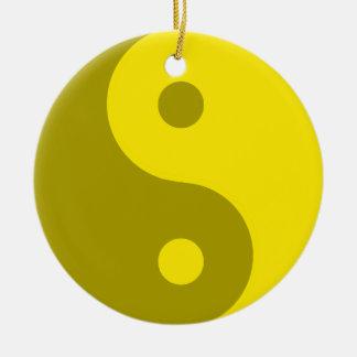 Yellow Yin Yang Spiritual Symbol Round Ceramic Decoration
