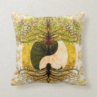 Yellow Yin Yang w/ Tree of Life Cushion