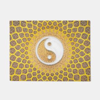 Yellow Ying Yang Mandala Doormat