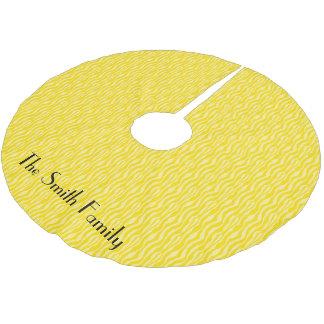Yellow Zebra Print Pattern Personalize Brushed Polyester Tree Skirt