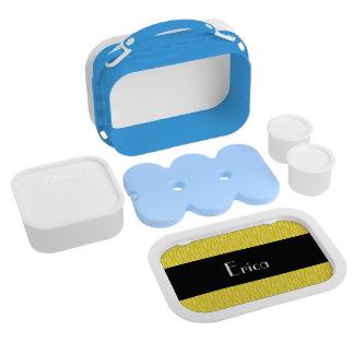 Yellow Zebra Print Pattern Personalize Lunch Box