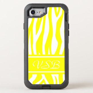 Yellow Zebra Print with monogram OtterBox Defender iPhone 7 Case