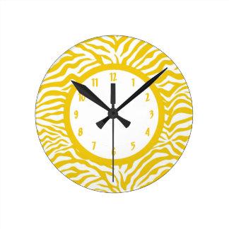 Yellow Zebra Stripe Round Clock