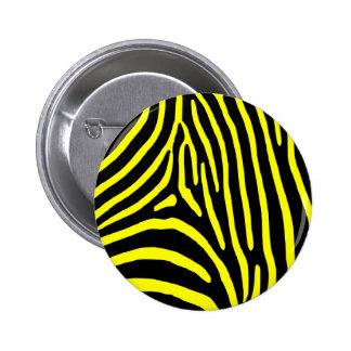 Yellow Zebra Stripes 6 Cm Round Badge
