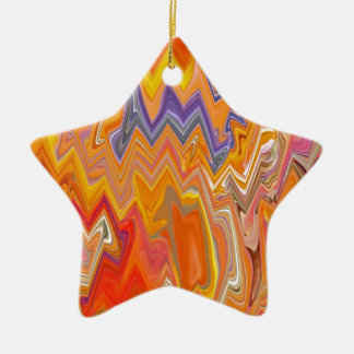 Yellow Zig Zag Pattern Ceramic Star Decoration