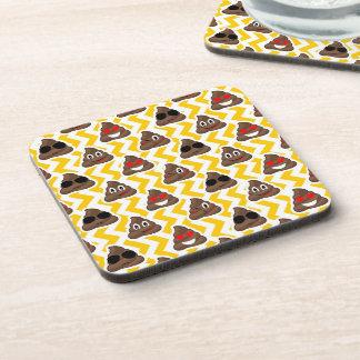 Yellow Zig Zag Poop Emojis Coaster