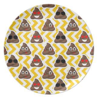 Yellow Zig Zag Poop Emojis Plate