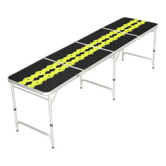 Yellow Zigzag on Black Beer Pong Table