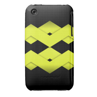 Yellow Zigzag on Black iPhone 3 Cases